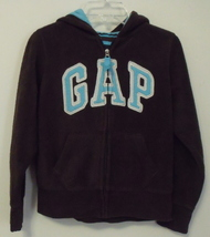 Girls Gap Kids Brown with Aqua trim Fleece Hooded Long Sleeve Jacket Siz... - $6.95
