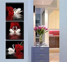 Framed White Swans Red Rose Flower 3 Piece Canvas Wall Art Print Post Home Decor - $35.90+