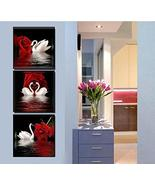 Framed White Swans Red Rose Flower 3 Piece Canvas Wall Art Print Post Ho... - $35.90+