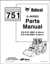 Bobcat 751 G-Series Skid Steer Loader Parts Manual on a CD - $12.00