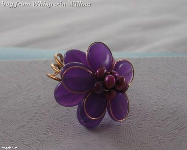 Elegant Passionate Purple Quartz and Bronze Adjustable Fashion Ring