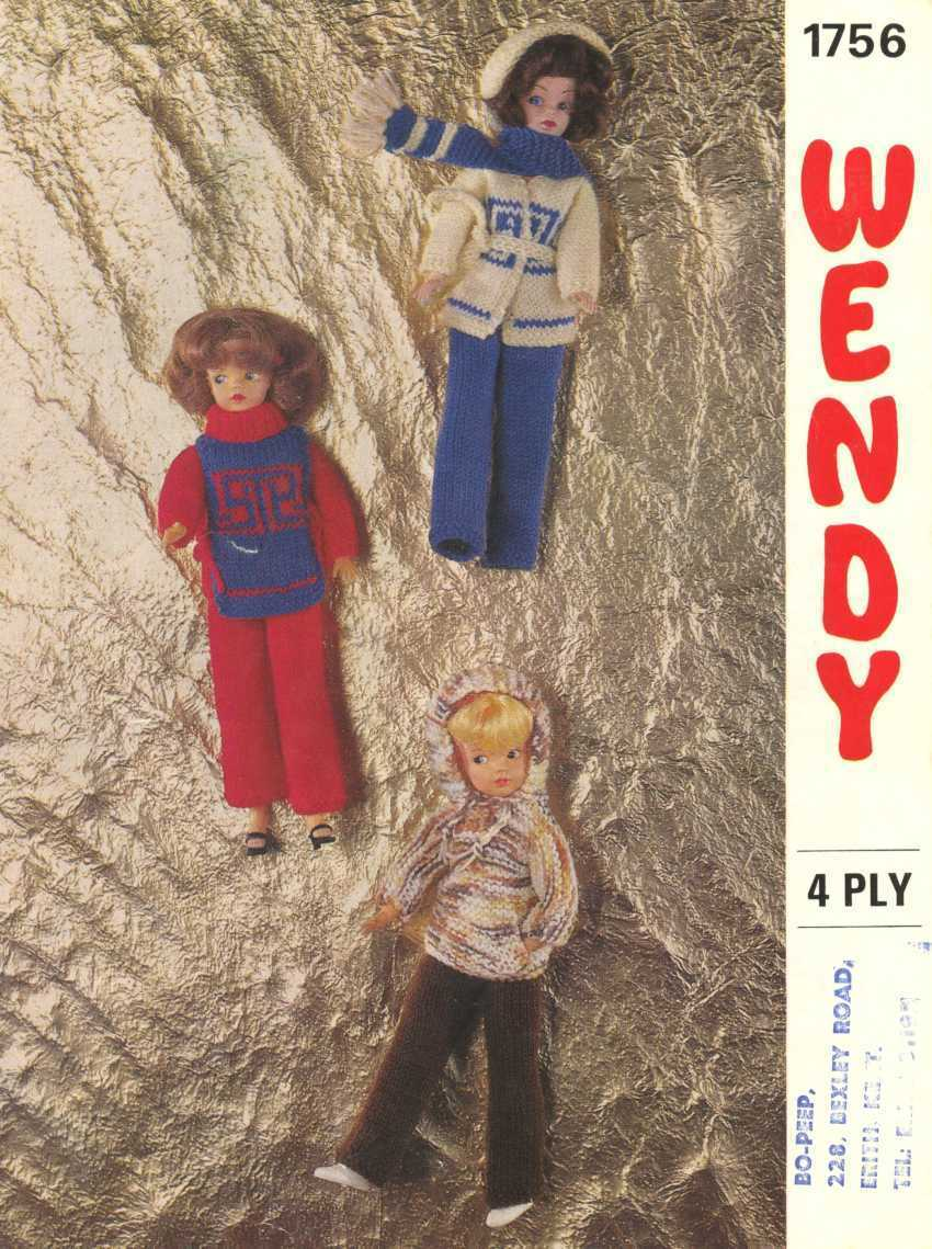 Vintage knitting pattern for fashion dolls Sindy Barbie Wendy 1756. PDF