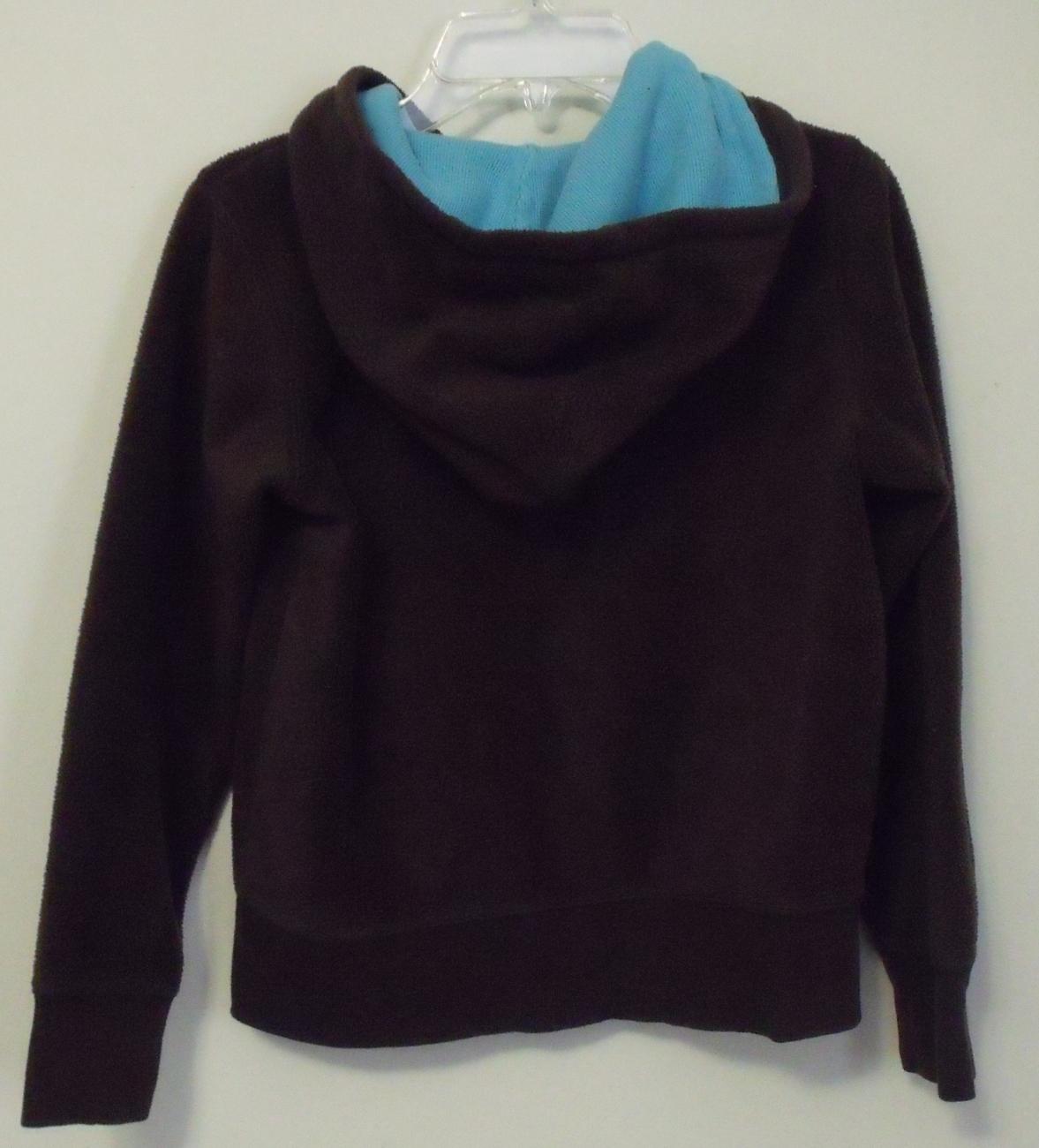 Girls Gap Kids Brown with Aqua trim Fleece Hooded Long Sleeve Jacket Size M  image 2