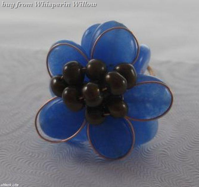 Elegant  Blue Quartz and Bronze Adjustable Fashion Ring