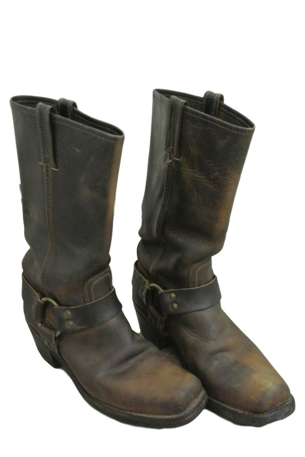 Primary image for FRYE USA $388 ICONIC Harness Boots 77300 Distressed Brown Women's 8
