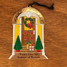 Solid Brass Enamel Doorway with Christmas Trees Packages & Wreath FOSTER... - $8.59