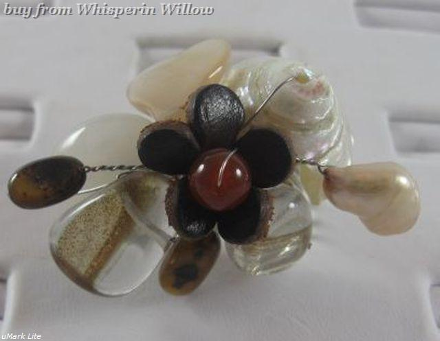Elegant Unique Multistone and Leather Flower Adjustable Fashion Ring