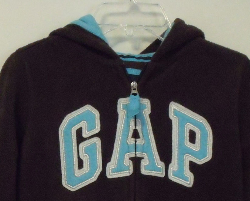 Girls Gap Kids Brown with Aqua trim Fleece Hooded Long Sleeve Jacket Size M  image 3
