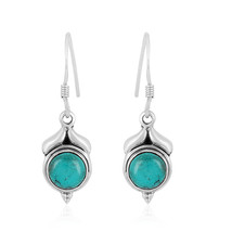 Turquoise Earring, 925 Silver Earring, Round Shape, Gemstone Dangle Earring - $14.99