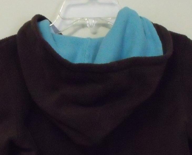 Girls Gap Kids Brown with Aqua trim Fleece Hooded Long Sleeve Jacket Size M  image 4