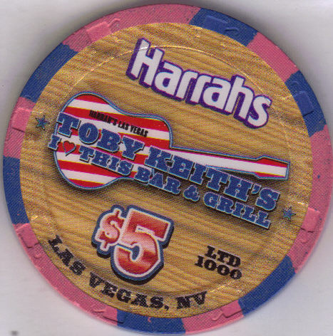 TOBY KEITH Ltd. $5 HARRAHS I Luv This Bar Grill Casino Chip