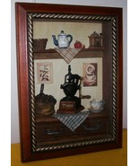 3D Picture Large Kitchen Scene Framed With Glass - $25.00