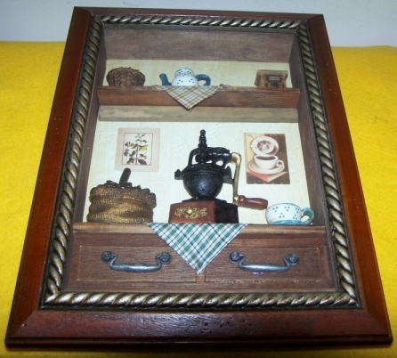 3D Picture Large Kitchen Scene Framed With Glass