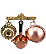 Dollhouse Small Kitchen Rack w Pots and Pans 1.632/6 Reutter Miniature - $24.86