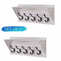 Wall Mounted Coat Rack Shelf with 5 Rustic Hooks Wood Perfect Touch for Your Ent