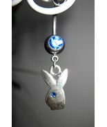 BELLY NAVEL RING BLUE SAPPHIRE CRYSTAL BUNNY #528B - $7.99