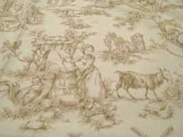 Classic Cottons  Brown Toile on Cream Cotton Fabrict - $9.95