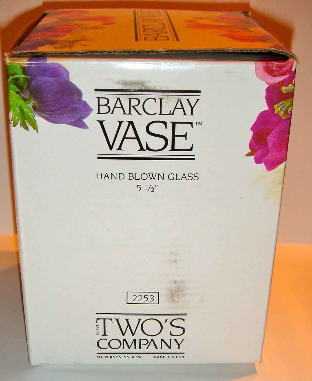 Vintage Clear Glass Barclay Flower Vase from Two's Company Hand Blown #2253 NIB