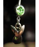 BELLY NAVEL RING GREEN PERIDOT CRYSTAL BUNNY #528C - $7.99