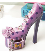 Polka Dot High Heel Jewelry Holder Ceramic - $15.75
