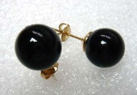 charming 10mm black bead 18KGP stud earrings free shipping - $5.99