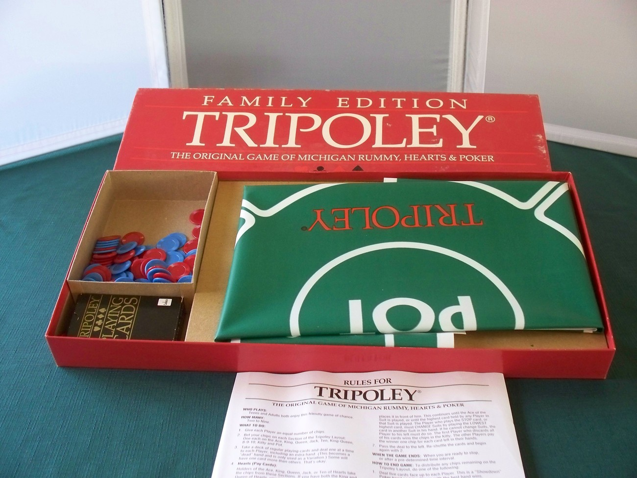 Tripoley Family Edition Cadaco 1989 Chips Cards And Mat VGC