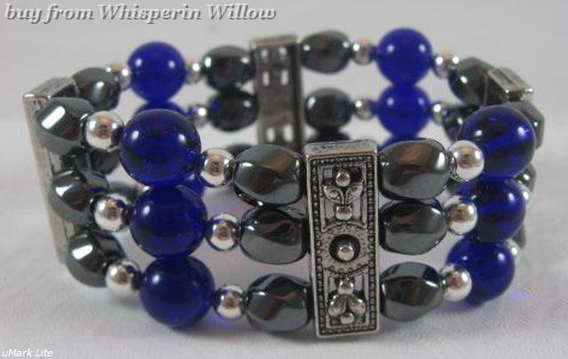 3 Strand Magnetic Hematite, Cobalt Glass and Silver Bracelet - $16.95