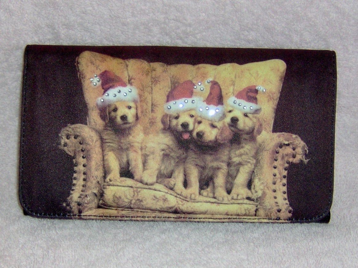 Golden Retriever Puppies Wearing Santa Hats Pocketbook Clutch Wallet