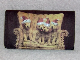 Golden retriever billfold clutch purse santa hats 1 thumb200
