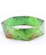 Bangle green flower lucite square bracelet costume jewelry girl fashion fun - $10.88