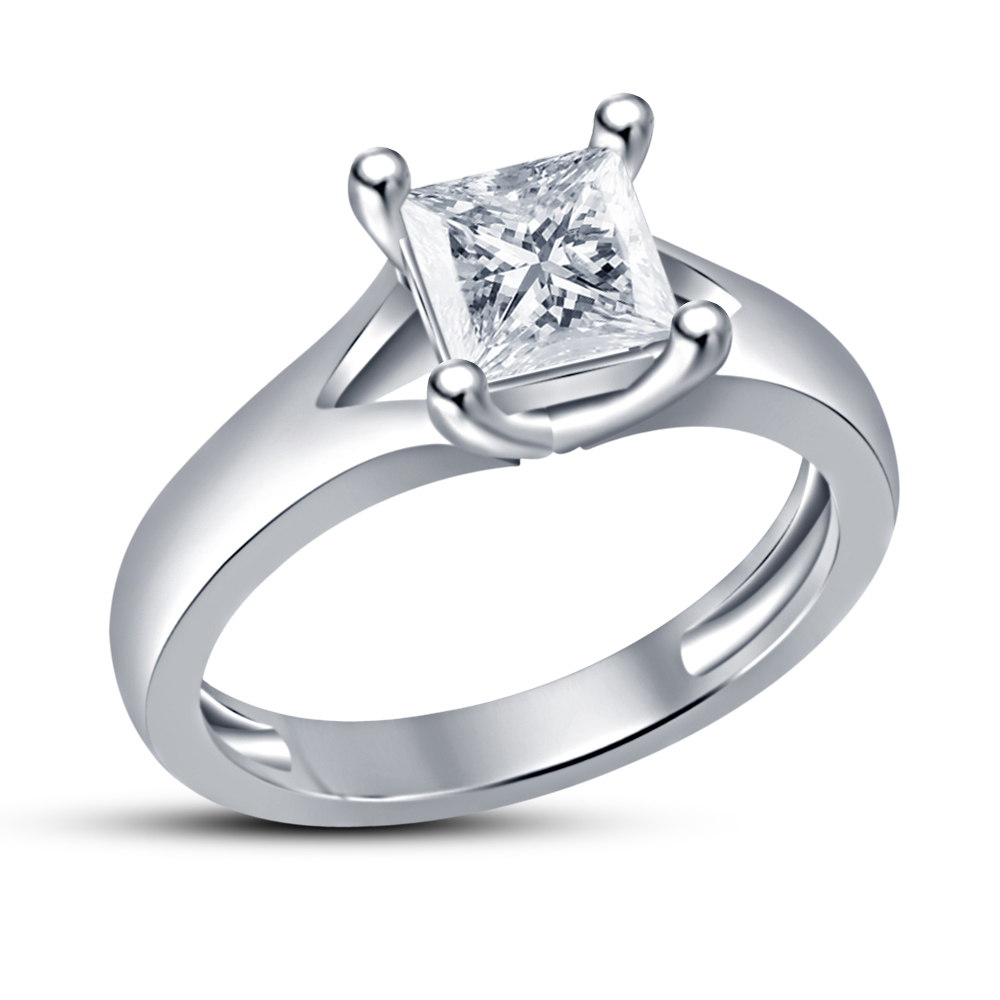 Princess Cut CZ Solitaire Weddung Ring 14k White Gold Finish 925 Sterling Silver