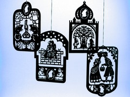 4 Pcs. Hans Christian Andersen's Black Brass Mobile Hangers - $37.00