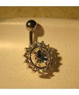 BELLY NAVEL RING BLUE TOPAZ CRYSTAL CIRCLES #532B - $7.99