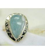 Natural Sea Green Aquamarine Teardrop cabochon Sterling Silver Ring Size... - $107.00