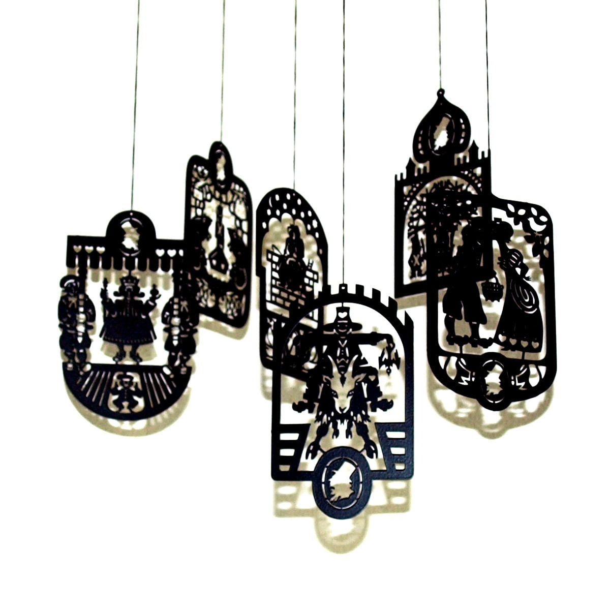 6 Pcs. Hans Christian Andersen's Black Brass Mobile Hangers