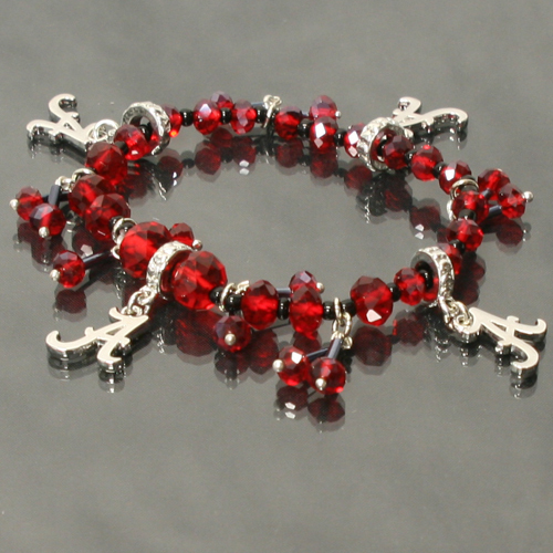 Alabama Crimson Tide Licensed Ncaa Glass Beads With Charm Crystal Bracelet