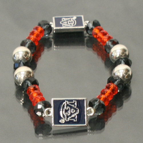 Auburn Tigers Licensed Ncaa Glass Beads & Charm Crystal Bracelet