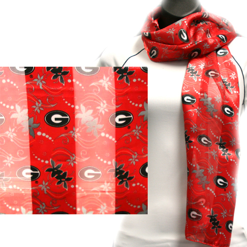 Georgia Bulldogs Officialy Licensed Ncaa Floral Scarf