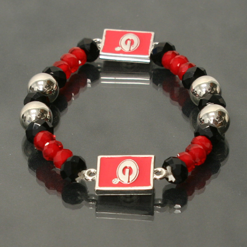 Georgia Bulldogs Licensed Ncaa Glass Beads With Stretch Crystal Bracelet