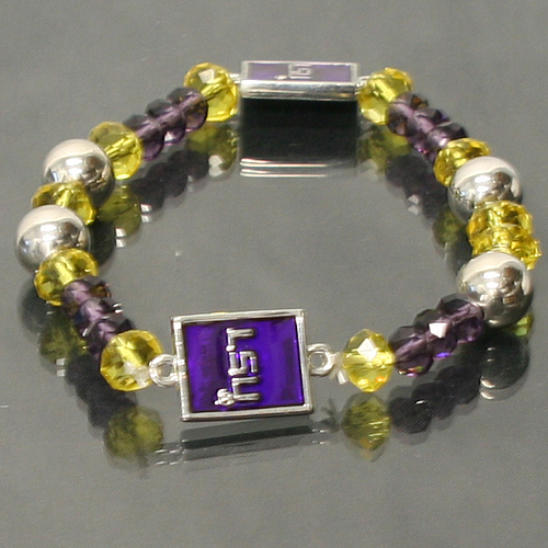 LSU Louisana State Tigers Officialy Licensed Ncaa Glass Stretch Crystal Bracelet