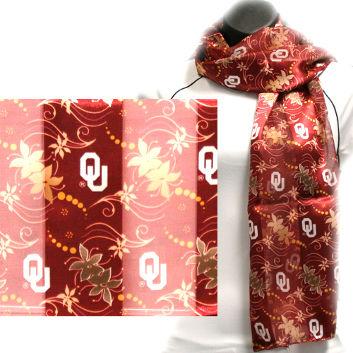 Oklahoma Sooners Officialy Licensed Ncaa Floral Scarf
