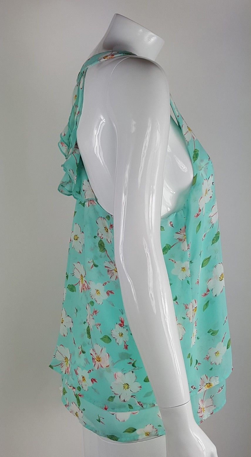 Umgee Womens Size Small Mint Green Floral Racerback Lined Sleeveless Blouse EUC
