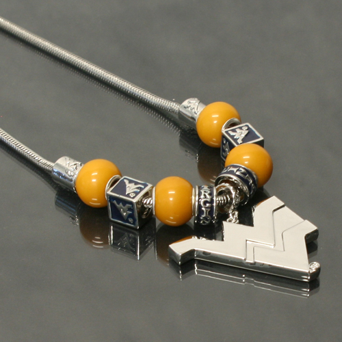 West Virginia Mountaineers Licensed NCAA Bead Necklace