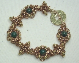 Chainmail Bracelet in Bronze, Brass & Jade Chainmaille - $48.99