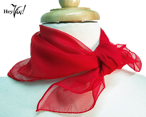 Red Chiffon Scarf 50s Style Costume Accessory