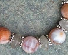Fire Agate,Quartz  Gemstone & Sterling Silver Bracelet