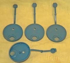 4-  vintage blue Tupperware syrup lids 2-1/4 in diam - $6.65