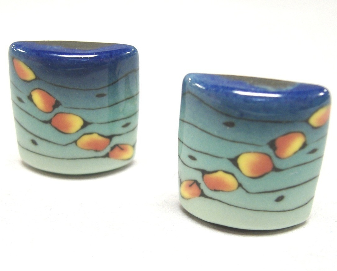 Primary image for Caribbean Square Earrings Unique Ceramic Clip On Colorful Handmade Blue Green