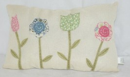 Ganz Flower Pillow Four Different Colored Flowers Off White Background image 1