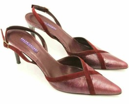 Ralph Lauren Women Slingback Pointed Toe Heels Size US 10B Maroon Leather - $17.50